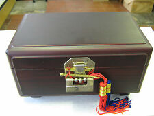NEW - ORIENTAL KOREAN LACQUERED WOOD BOX / JEWELLERY BOX WITH UNUSUAL LOCK & KEY