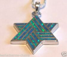 STAR OF DAVID OPAL PENDANT sterling silver Jewish Religious Israel