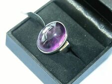 LOT 344 STUNNING LARGE OVAL AMETHYST SOLID STERLING SILVER RING - SIZE J