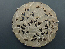 CHINESE PIERCED JADE AND SILVER BROOCH