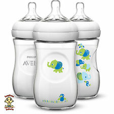 Avent Natural Bottle, Elephant Safari Deco Design, 9 oz (260 ml), 3 pack