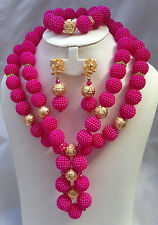 Fushia Pink with Gold Balls Wedding Bridal Party African Nigerian Beads Jewelry
