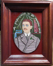 Perfectionist Man framed acrylic naive vintage painting raw brut outsider art