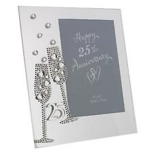 Glass Photo Frame - Champagne Flutes & Mirror Letters - 25th Anniversary