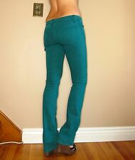 Rich&Skinny $165 Teal Turquoise Green Slim Boot Straight Leg Jeans X-Long 26 NWT