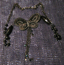 Dark metal necklace with black beads, with a material butterfly with sequins