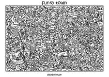 """DOODLE ART POSTER """"Funky Town"""" - Massive A1 (84cm x 59cm) Colouring In Poster"""