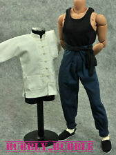 1/6 Bruce Lee Kung Fu Long Sleeves Costume Blue Pants Set SHIP FROM USA