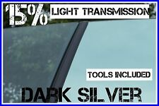 DARK SILVER MIRROR 15% LIGHT TRANS CAR WINDOW TINTING FILM 6mX75cm TINT+FREE KIT