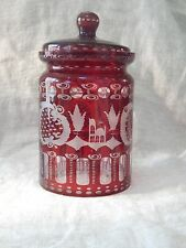 "Vintage Bohemian Glass Ruby Stag and Castle Cookie / Candy Jar with lid 7"" tall"