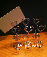 50 Silver Heart Wedding Party Event Name Table Card Holder Stand Clips Favor