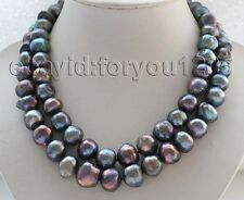 "19"" Double Natural 12-18mm Black Baroque Pearl Necklace #f1737!"