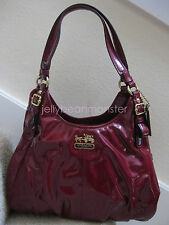 COACH 18760 Madison Patent Leather Maggie Shoulder Bag Purse Orchid Red NEW TAG