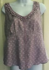 NWOT GAP Maternity Blouse 100% Silk Shirt Sleeveless Top S Small Purple Floral