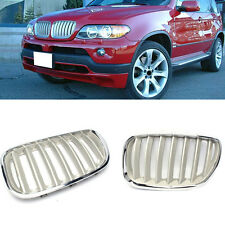 For BMW X5/E53 1999-2006 ABS Front Bumper Chrome Grille Grill Silvery