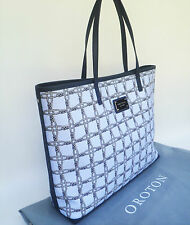 RRP$345 New OROTON Woven Bag Handbag XL Tote Shopper Leather Chambray