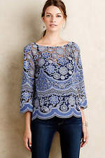 Anthropologie HD in Paris Montmartre Blue Lace Peasant Blouse Top 8 NEW