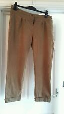 EXCELLENT CONDITION NEW LOOK  BROWN TAPERED TROUSERS SIZE 18