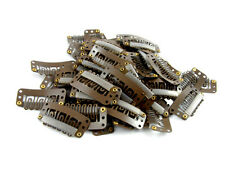 PACK OF 20 BROWN WEFT HAIR CLIPS 32mm EXTENSIONS WEFTS