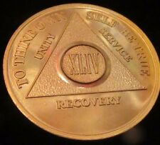 24K Gold Plate Alcoholics Anonymous AA 44 Year Medallion Coin Token Chip Sober