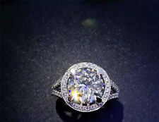 3.00CT Off White Yellow Real Moissanite Engagement Ring .925 Sterling Silver