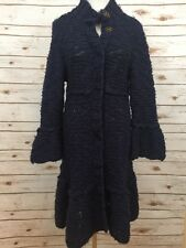 Free People Sz Large Blue Cardigan Long Bell Sleeve Ruffle Hem Sweater *3600