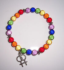 Rainbow Miracle Bead Bracelet with Double Venus Symbol - lesbian - Handmade