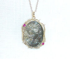 Mother of Pearl & 0.10ct Created Ruby Solid 925 Sterling Silver Pendant & Chain