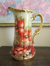 Limoges France Hand Painted Poppies Tankard Pitcher Signed Leon 11""