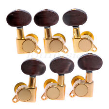 3L3R Acoustic Guitar Machine Heads Tuning Pegs Amber Brown Buttons Gold Tuners