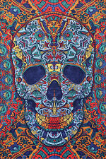 "3D SKULL Psychedelic Tapestry/Wall Hanging 60""x90"" FREE 3D GLASSES"