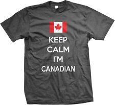 Keep Calm Im Canadian Pride Canada Canadien Maple Leaf Flag Hockey Mens T-shirt