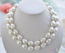 P4234 2row 18mm White Drip South Sea Shell Pearl Necklace
