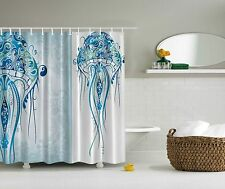 Blue Jelly Fish Sea Ocean Beach Fabric Shower Curtain Digital Art Bathroom