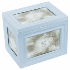 "Shabby Chic Wooden 96 Photo Storage Box Baby Blue 4"" x 6"" Vintage Picture Album"