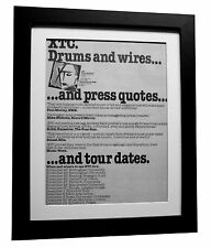 XTC+Drums & Wires+1979 TOUR+POSTER+AD+RARE ORIGINAL+FRAMED+EXPRESS GLOBAL SHIP