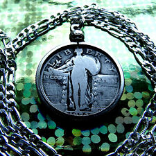 """1926 Silver US Standing Liberty Quarter Pendant on a 30"""" 925 Sterlg Silver Chain"""