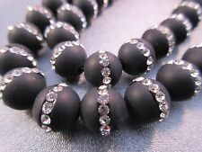 Matte Black Onyx w/ Rhinestone 10mm Round Beads 40 pcs