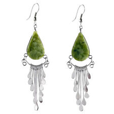 "#4103 Serpentine Peruvian Earrings Stone Drop Artisan Alpaca Silver 2"" Dangles"