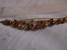 BRAND  NEW  FASHONABLE THREE TONES OF BROWNS BALL BEADED ON CHAIN BRACELET