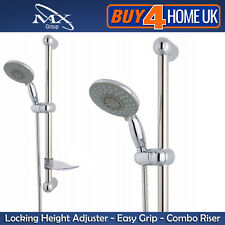 MX Chrome Multi Mode Shower Kit -1.5m Hose, Riser Rail, Slider & Shower Head RAM