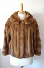 VINTAGE 60s PLUSH BROWN MINK FUR EVENING JACKET SIZE 10/12 LOVELY CONDITION