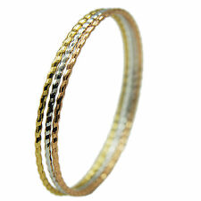 18k Yellow, Rose, White Gold GF Bangle Set of 3, Russian Rings Style 60mm NEW