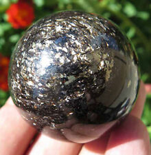 3.4OZ Natural Gold Flash Black Tourmaline Pyrite Crystal Sphere Ball
