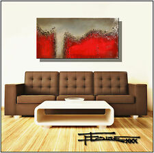 ORIGINAL ABSTRACT MODERN CANVAS PAINTING 48in. Red Signed USA  ELOISExxx