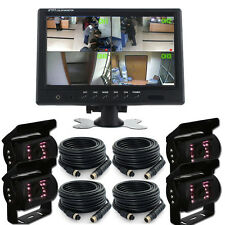 "9""HD TFT Quad Car Monitor+LED Parking Backup Rear View Camera+4*10M video cables"