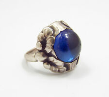 Vintage Georg Jensen Denmark Sterling Silver & Sapphire Ring #11A, size 5.75