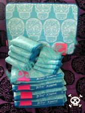 13 pc Aqua Blue Betsey Johnson Sugar Skull Bath Towel Rug Bundle Halloween Goth