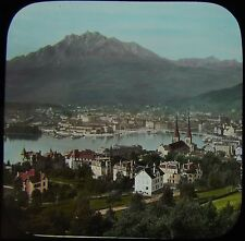 Glass Magic Lantern Slide SWISS CITY C1890 PHOTO SWITZERLAND
