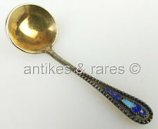 dekorativer russischer Salzlöffel in 875 (Ag) Silber, emailliert (norb653)